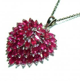 Natural Ruby Marquise Pendant 11.76ct 18k W/g Overlay