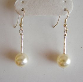 12mm Swarovski Crystal Pearl Earrings 18k W/g Overlay