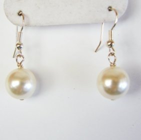 12 Mm Swarovski Crystal Pearl White Color Earrings
