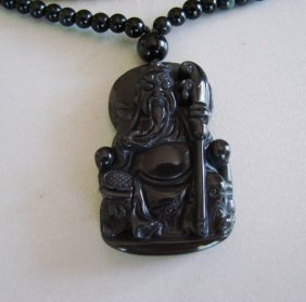 Necklace Caved Land Lord Buddhist Onyx 43.98 Gram