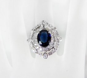 Ring Natural Blue Sapphire Diamond 4.26ct 14k Y/g