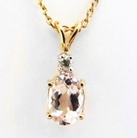 Diamond Pink Kunzite Pendant 3.50ct 14k Y/g