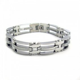 Stainless Steel Striped Men?s Bracelet