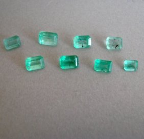 Mixed Size Octagon Shape Columbia Emerald 3.61 Ct