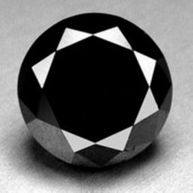 Natural Black Diamond Round 4.99ct 11.3x7.2 Mm