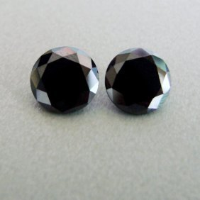 Natural Black Diamond Round Pairs 1.81ct 6 X 4.3 Mm