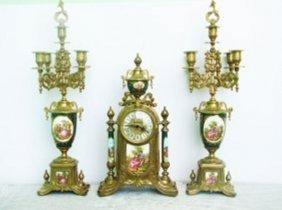 Set Vintage Italian Candelabra Clock Porcelain