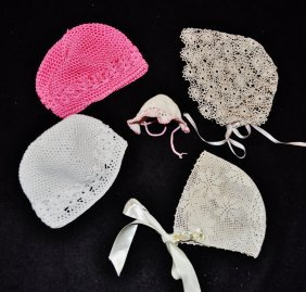 Hand Crocheted Tatted Bonnets & Hats 6 Pcs Christening