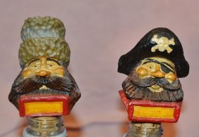 2 Vintage Carved Wooden Bottle Stoppers Pirate Cossack
