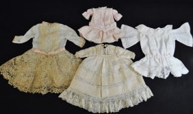 Victorian Edwardian Doll Dresses Gowns Lace 4 Pc