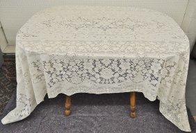 Vintage Lace Tablecloth Floral Rectangle 106x70