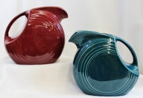 2 New Fiesta Ware Disk Pitchers Turquoise Scarlet