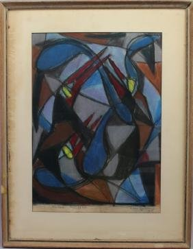 1950's Signed Abstract Mixed Media