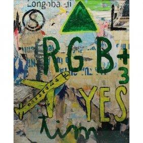 """Mimmo Domenico Rotella (italy, 1918 - 2006) """"yes"""""""