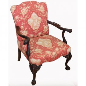 Carved American Cadwaller Style Armchair