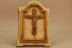 Antique French Bronze/onyx Plaque Of Jesus