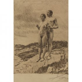 Anders Zorn, 1860-1920, Sweden. Signed Etching