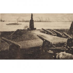 Howard Frech (20th C.) Baltimore Harbor Etching