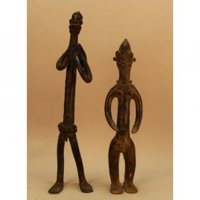 (2) Antique Bronze Mali Djenne Figures