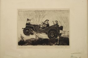 "Howard Frech (20th C.) ""motor Transport"" Etching"