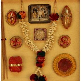 20th C. Framed India Traveling Shrine