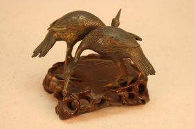 (2) Antique Bronze Chinese Cranes On Base