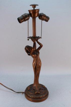 Figural Art Nouveau Bronze Ostrander Lamp