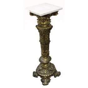 20th C. Gilt Marble Top Pedestal