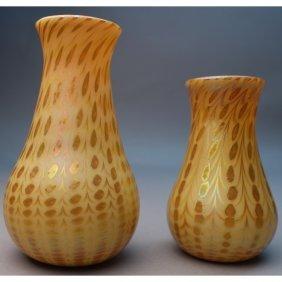 (2) Gold Aurene Zephyr Vases