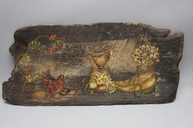 Signed Folk Art Painted Panel
