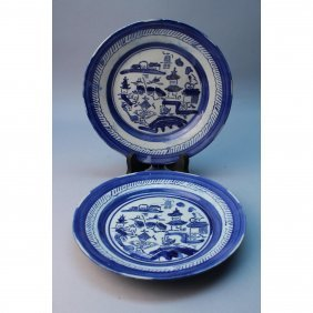 (2) Antique Chinese Blue/white Dishes