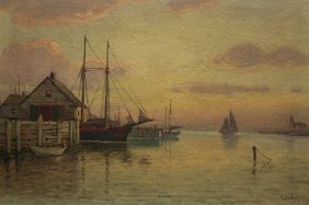 T Bailey (19/20th C.) Luminist Harbor