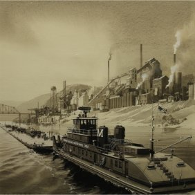 Carl Evers (1907 - 2000) Tugboat Watercolor