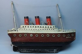 Ss 'normandie' Leather Folk Art Ship Model