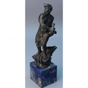 19th C. Neptune Bronze Statue On Lapis Base
