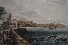 """19th C. """"genes"""" Harbor Scene Colored Engraving"""