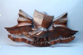 Large Carved Wooden American Eagle W/ Shield