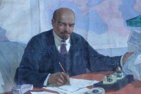 Unframed Russian School Painting Of Vladimir Lenin