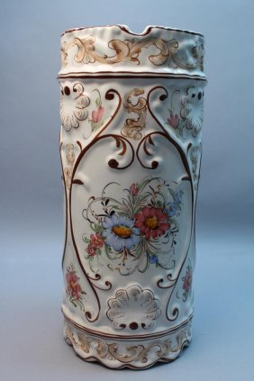 Portugese Hand Painted Porcelain Cane Stand