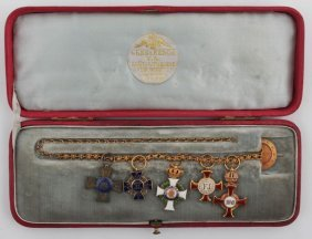 Austro-hungarian Gold Chain With 5 Miniatures