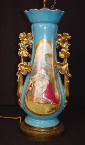 Beautiful Old Paris Vase, Blue With Gold Trim, Has Been