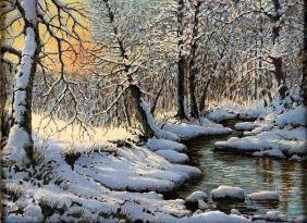 """Signed Mb """"snowy Winter River Painting"""