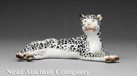 Meissen Figure Of A Recumbent Leopard