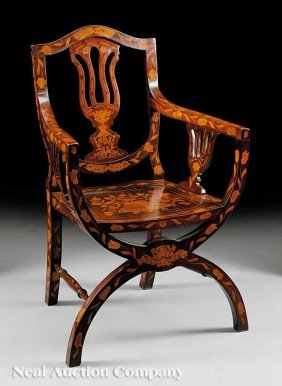 Dutch Classical Inlaid Mahogany Armchair