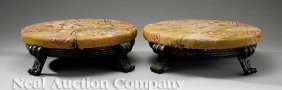 Pair Of Continental Patinated Bronze Tuffets