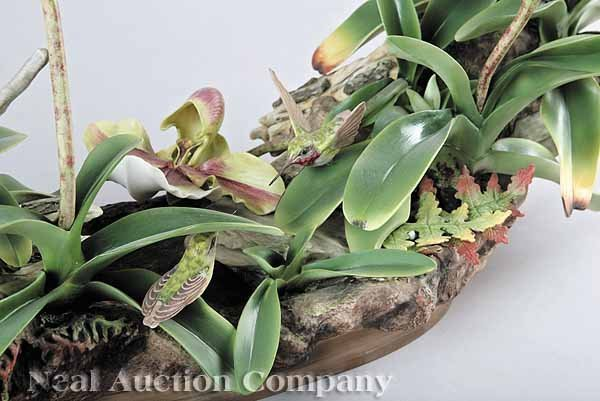 Boehm porcelain orchid hummingbird centerpiece lot