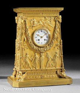 Antique French Gilt Bronze Mantel Clock Susse