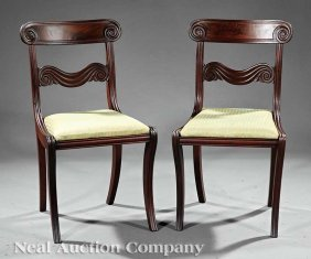 Classical Carved Mahogany Side Chairs