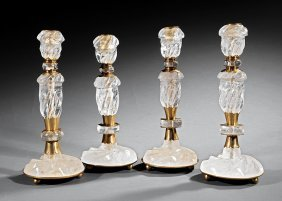 Four Gilt Metal-mounted Rock Crystal Candlesticks