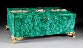Jeweled And Gilt-bronze Mounted Malachite Coffer